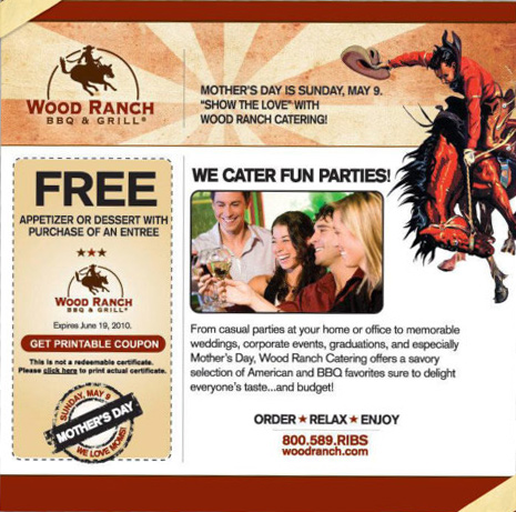 Wood Ranch Coupons WB Designs - Wood Ranch Catering WB Designs